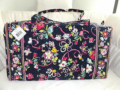 Vera Bradley Large Duffel Bag - Ribbons Navy Brand New With Tags - Carry On Bag