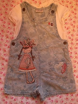 Girls Next Playsuit 2-3 Floral Washed Denim Effect With Girl On Front