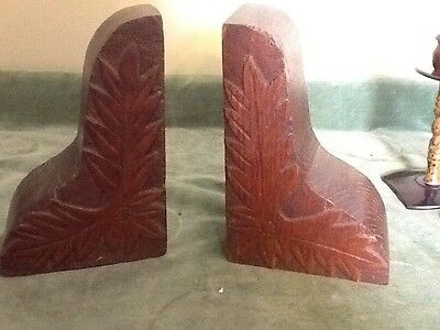 Superb Pair Of Vintage Carved Wooden Bookends
