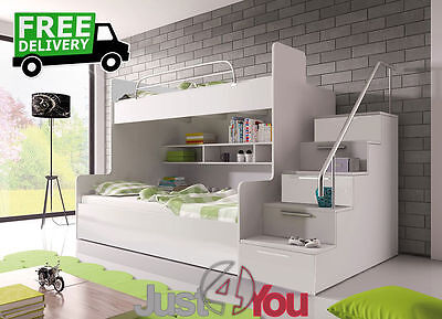 Modern Bunk Bed Without Mattresses / Storage / Childrens Kids Bedroom Eden