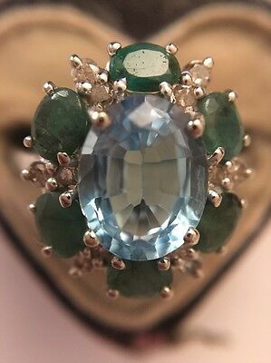 Vintage 18ct White Gold Emerald Diamond Cluster Dress Ring Unusual And Pretty