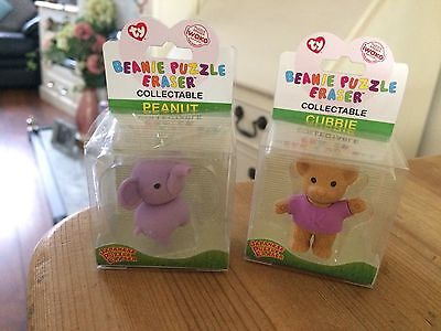 Brand New : 2X TY Beanie Collectible Puzzle Erasers - Peanut & Cubbie
