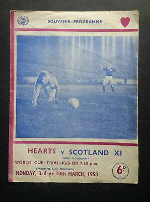 Hearts v Scotland XI 3rd March 1958 World Cup International Trial Programme