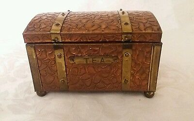 Arts and Crafts Brass Treasure Chest Tea Caddy