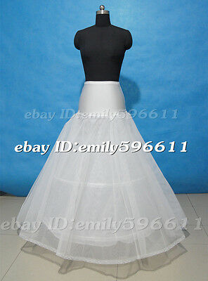 White or Ivory 2 Hoop Lace  A-line Wedding Gown Petticoat Full Slip Underskirt