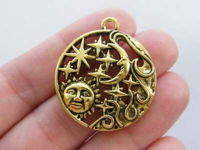 Sun and Moon Charm Antique Gold Tone Stars GC1084