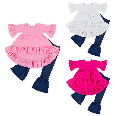 Unique Baby Girls Valentine's Day Outfit Ruffle Top Shirt Leggings Pants Outfits