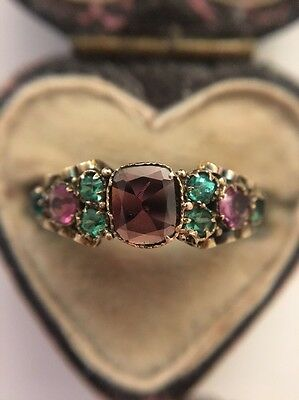 Antique Victorian 15ct Yellow Gold Ornate Scroll Garnet Ring Unusual