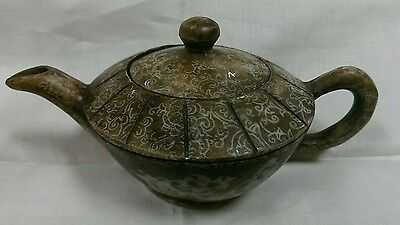 Exquisite Antique Asian Chinese Soapstone Teapot Hand Carved Etched Sculpture