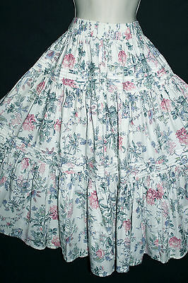 VINTAGE LAURA ASHLEY 1950s STYLE BLUE/WHITE TIER FLORAL GYPSY SKIRT, 4,6,8,10,12
