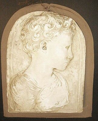 ANTIQUE Victorian 19th century Cast Plaster Relief Panel Child Boy Sculpture