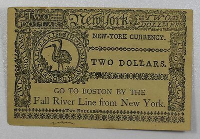 Facsimile Colonial Currency New York Two Dollar Note {DO597}