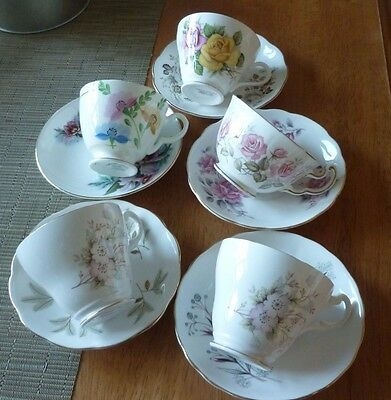 5 Pretty Floral China Cups and Saucers