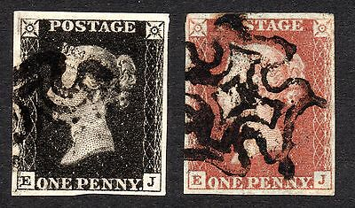 1840 Sg2 Penny black from plate 9 matching in red, black fine 4 margin ( E J )