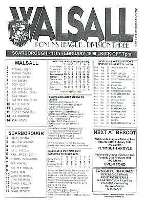 Walsall res v Scarborough res - 11/02/1998