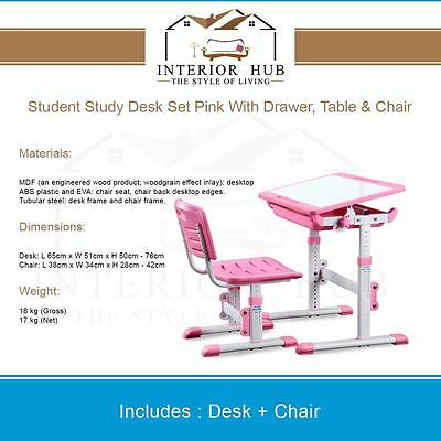 Ergonomic Kids Pink Desk Height Adjustable Kids Table Chair