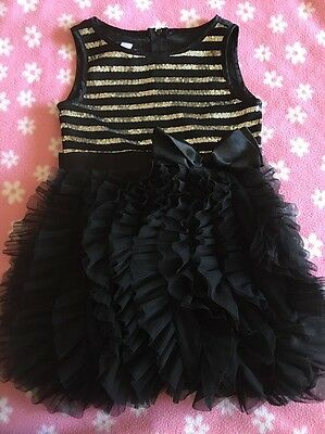 Girls Black Sleeveless Sequin Dress W/ Ruffle Skirt, BIZCOTTI, Formal, Size 5t