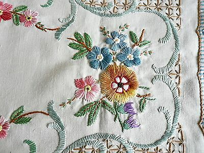 2 vintage hand embroidered Irish linen table place mats dressing table cloths