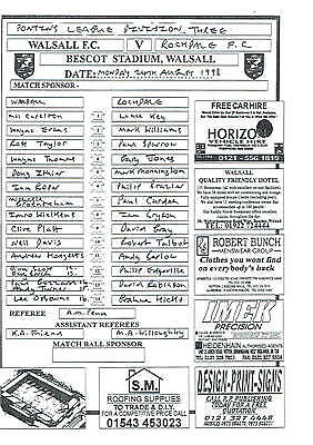 Walsall res v Rochdale res - 24/08/1998