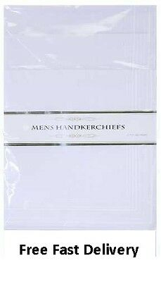 "White Mens Large Handkerchiefs Hankies Pack 5 14"" x 14"""