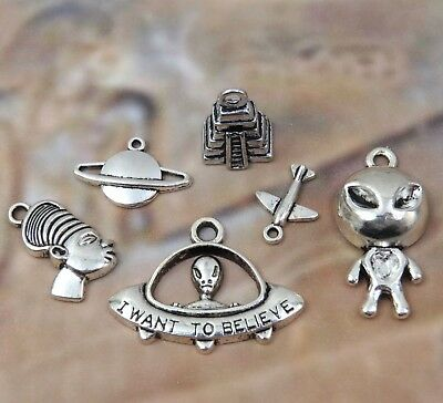 6 ANCIENT ALIENS Antique Silver Mixed Charm Set Lot Collection UFO Outer Space