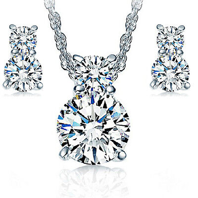 New products Fashion jewelry 925 silver suit fine Zircon necklace and earring