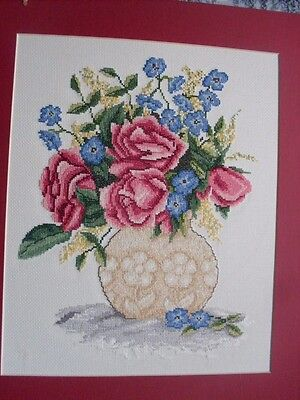 Completed Cross Stitch Vase Of Roses Flowers