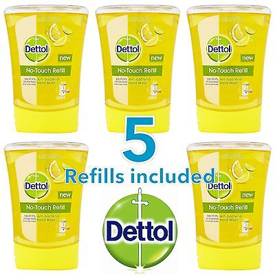 5 x DETTOL NO TOUCH HAND WASH REFILLS - REFRESHING CITRUS FRAGRANCE - NEW
