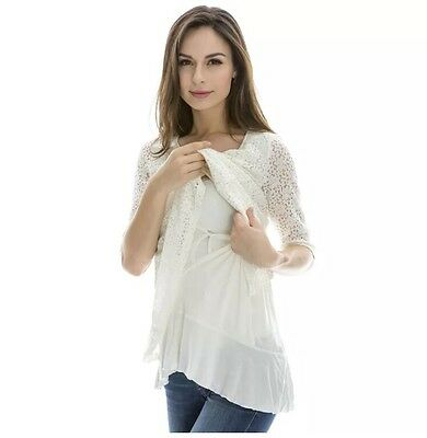 Lace Breastfeeding Tops Maternity Pregnancy Nursing Top Large