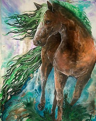 EVERGREEN  8x10  EARTH  HORSE Print from Artist Sherry Shipley