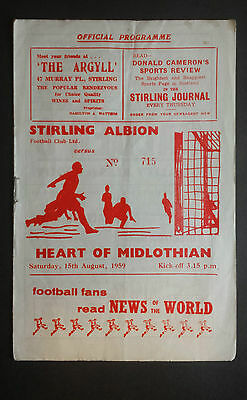 Stirling Albion v Hearts 15th August 1959 Scottish League Cup Programme