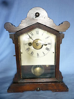 Antique American Mantel Clock ( Working Order ) With Alarm And Key