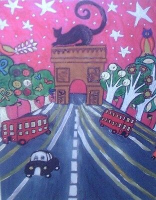 "Fridge Magnet, Eiffel Tower at Sunset, Paris, quirky  4.25"" by 5.5"""