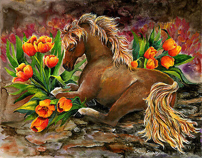 BED OF TULIPS  8x10 HORSE Print from Artist Sherry Shipley
