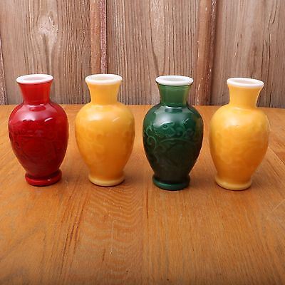 4 Avon Vintage Spring Bouquet Fragranced Vases Red Yellow Green