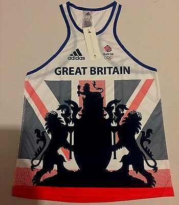 RIO 2016 TEAM GB Olympics Running Singlet Training Vest Adidas BNWT S/M - UK 12