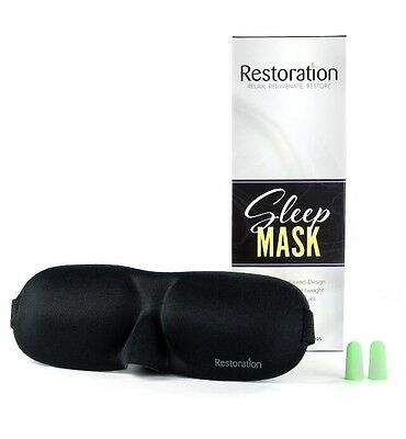 Restoration Lightweight & Comfortable Contoured Sleep Mask Including Moldex Ear