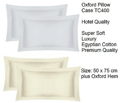 Oxford Pair Pillow Case 400 Thread Count Pair 100% Egyptian Cotton Hotel Quality