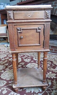 Antique French MARBLE TOP NIGHTSTAND Side Table Marble Lining ~ Shabby Restore