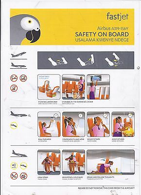 Safety card FASTJET Airbus A319 156Y