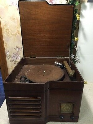 Rare Vintage  EMERSON RADIO & Phonograph Record Player IN INGRAHAM CABINET