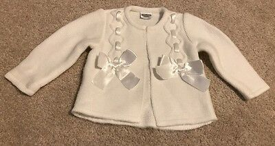 Rochy 6 Months Spanish Cardigan Baby Girls Bows White Knit Clothes