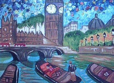 "Large Fridge Magnet, Punting on the Thames by Big Ben   4.25"" x 5.5"""