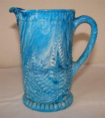 Davidson Blue Malachite Slag Glass Jug- Fern Motif