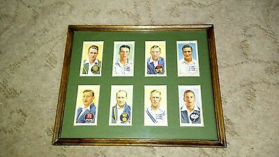 A Framed Set of 8 'Cricketers 1938' Player's Cigarette Cards - Good Condition