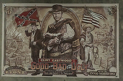 Clint Eastwood banner movie film poster good the bad ugly gun flag rebeld north