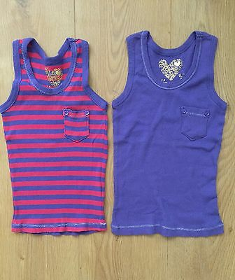2 Girls Vest Tops, Age 6-7 Years, 100% Cotton, VGC