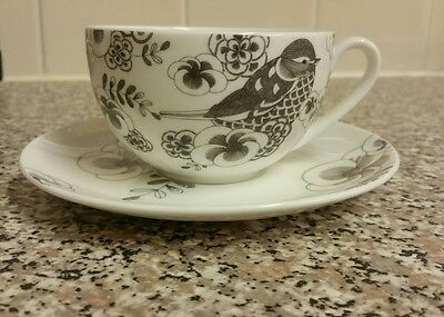 Marks and Spencer Grey and White Bird Cup and Saucer