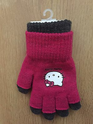 Girls Hello Kitty Gloves,Age 5-8 Years, Kitted/Knitwear,Pink, Brand New, BNWT