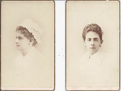 TWO CDVs OF ID'd, UNIFORMED SPAN-AM WAR PERIOD FEMALE NURSES